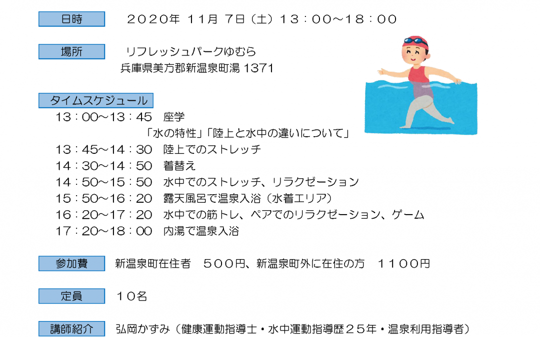 水中運動ガイド養成講座のお知らせ